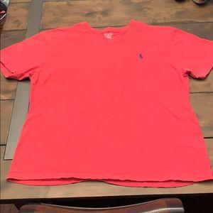 L V-neck Polo Red T-shirt Ralph Lauren Men Boys